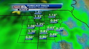 Forecast rain amounts Wednesday night - Thursday