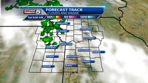 Saturday Morning:  Patchy clouds with a 30% chance of showers or a few thunderstorms